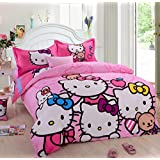 CASA Children 100% cotton series HELLO KITTY duvet cover & pillow cases & Flat sheet,4 Pieces,Queen
