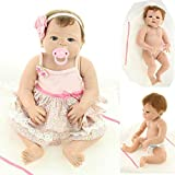 23 inch Reborn Full Body Silicone Doll Girl Vinyl Baby Doll Toys Blue and Brown Eyes Randomly Delivery