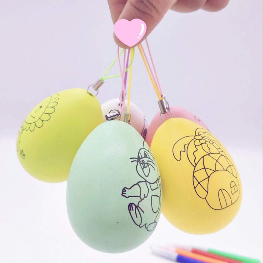 Easter Basket Stuffers Bedoo 20Pcs Colored Plastic Easter Eggs Hunt Decorations Random Color Artificial Egg DIY Decor Egg 3 Tall with 8 pens Hanging Plastic Eggs with Rope