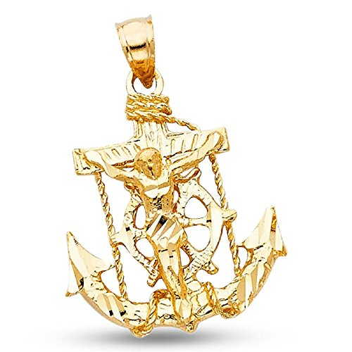 14k Yellow Gold Jesus Cross Mariner Pendant Anchor Crucifix Charm Solid Hip Hop Style 25 x 22 mm