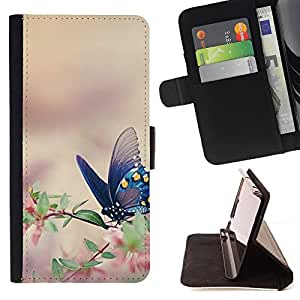 King Air - Premium PU Leather Wallet Case with Card Slots, Cash Compartment and Detachable Wrist Strap FOR Apple iPhone 5 5S- Butterfly Fly Beautiful Colorful