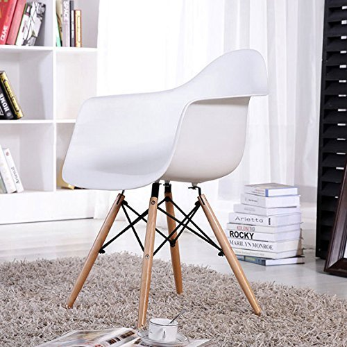 FurnitureR Set of 2 Dining Chairs Eames Style Mid Century Modern Molded Plastic Dining Arm Chair Wood Legs White by FurnitureR