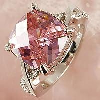 Dazzling PINK &White Topaz Gemstone Silver Jewelry Fashion Ring Size 6 7 8 (8)