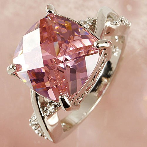 Women Fashion Pink & White Gemstone Engagement Ring Wedding Band Rings Size 6-8 EW (7 #)
