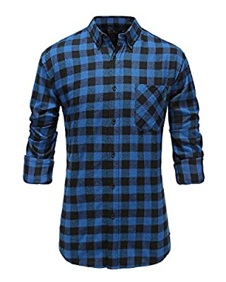 Emiqude Men's 100% Cotton Slim Fit Long Sleeve Button Down Flannel Plaid Dress Shirt