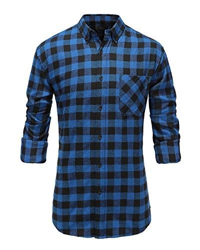 Emiqude Mens 100% Cotton Slim Fit Long Sleeve Button Down Flannel Plaid Dress Shirt