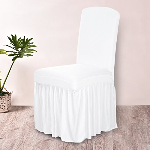Chair Cover Pleated Solid Color Ruffled Home Dining Chair Cover Spandex Seats Slipcover for Wedding Party Hotel Dining Room White