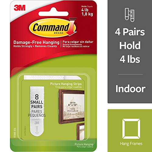 - Command 4 lb White Picture Hanging Strips, Indoor Use, Decorate Damage-Free (17205-ES)