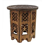 DharmaObjects Solid Mango Wood Hand Carved Prayer Puja Shrine Altar Meditation Table Round (Tree Life)
