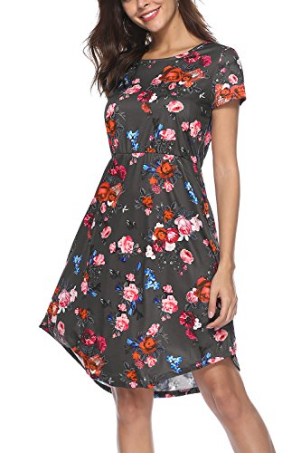 NICIAS Women Floral Short Sleeve Tunic Vintage Midi Casual Dress with Pockets (Dark Grey, Large)