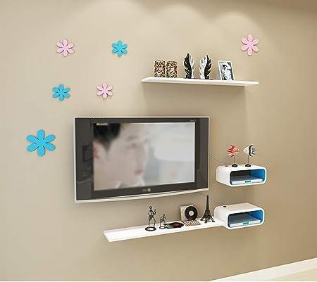 Mueble de TV flotante pequeño Mueble de pared Almacenamiento de centro de medios de entretenimiento Consola Consola de juegos Consola de audio / video con estante de almacenamiento abierto #blanco-Wh: Amazon.es: Hogar