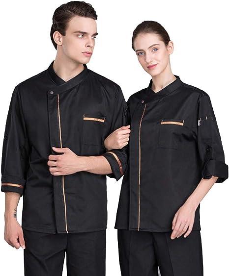 XRRa&XF Camisa de Chef Cocina Manga Larga para Verano para Hombres y Mujeres, Chaqueta de Cocinero Camarero Diseño Clástico Transpirable y Cómodo,Negro,XXL: Amazon.es: Deportes y aire libre