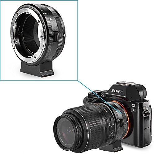 Neewer¨ Alumium Alloy Metal Bayonet Adjustable Manual Aperture Lens Mount Adapter for Nikon AF/AF-S lens to Sony