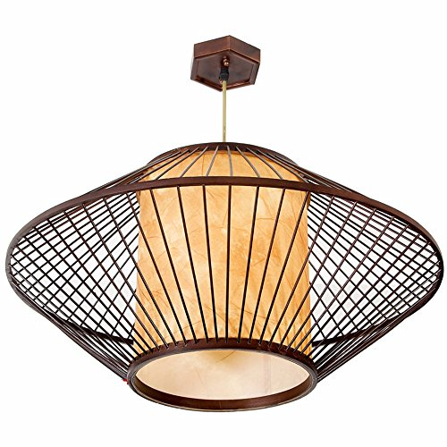 JhyQzyzqj Pendant Lights Chandeliers Ceiling Lights Flying Saucer bamboo Southeast Asia China wind Bamboo Weaving Lamp Hot Pot Restaurant in the hotel restaurant Inn 600X290MM Lamp