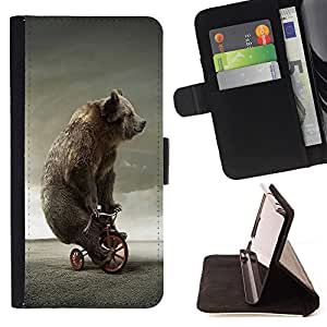 - Brown Bear Grizzly bears - - Style PU Leather Case Wallet Flip Stand Flap Closure Cover FOR HTC DESIRE 816 - Devil Case -