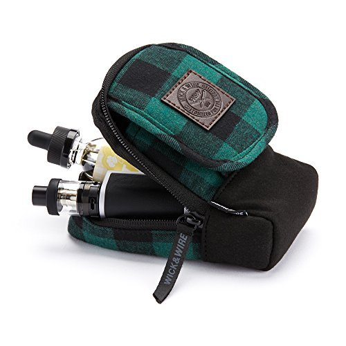 Stash Vape Case, Premium Vape Bag, Portable Vape Pen Case, Vape Travel Case, E-Juice Holder, E-Cig Pouch, Mech Mod, PAX, Aspire (Green Plaid)