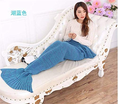 Lingyuan Warm and Soft Crochet Mermaid Tail Blanket for Adults,Teens and Kids, Suitable for Any Season (Color : 19590, Size : AF)