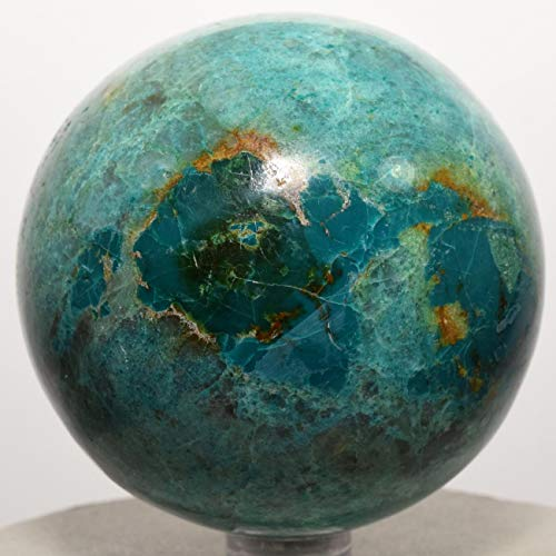 65mm Blue Green Chrysocolla Sphere w/Malachite Natural Chalcedony Mineral Polished Ball Sparkling Crystal Gemstone - Peru + Plastic Stand