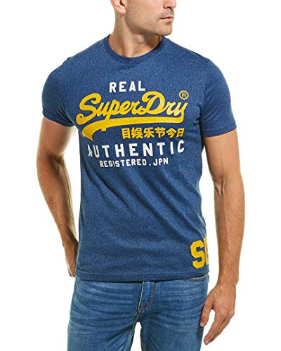 Superdry Men's Vintage Authentic Duo T-Shirt, Blue Black Grit, L ()