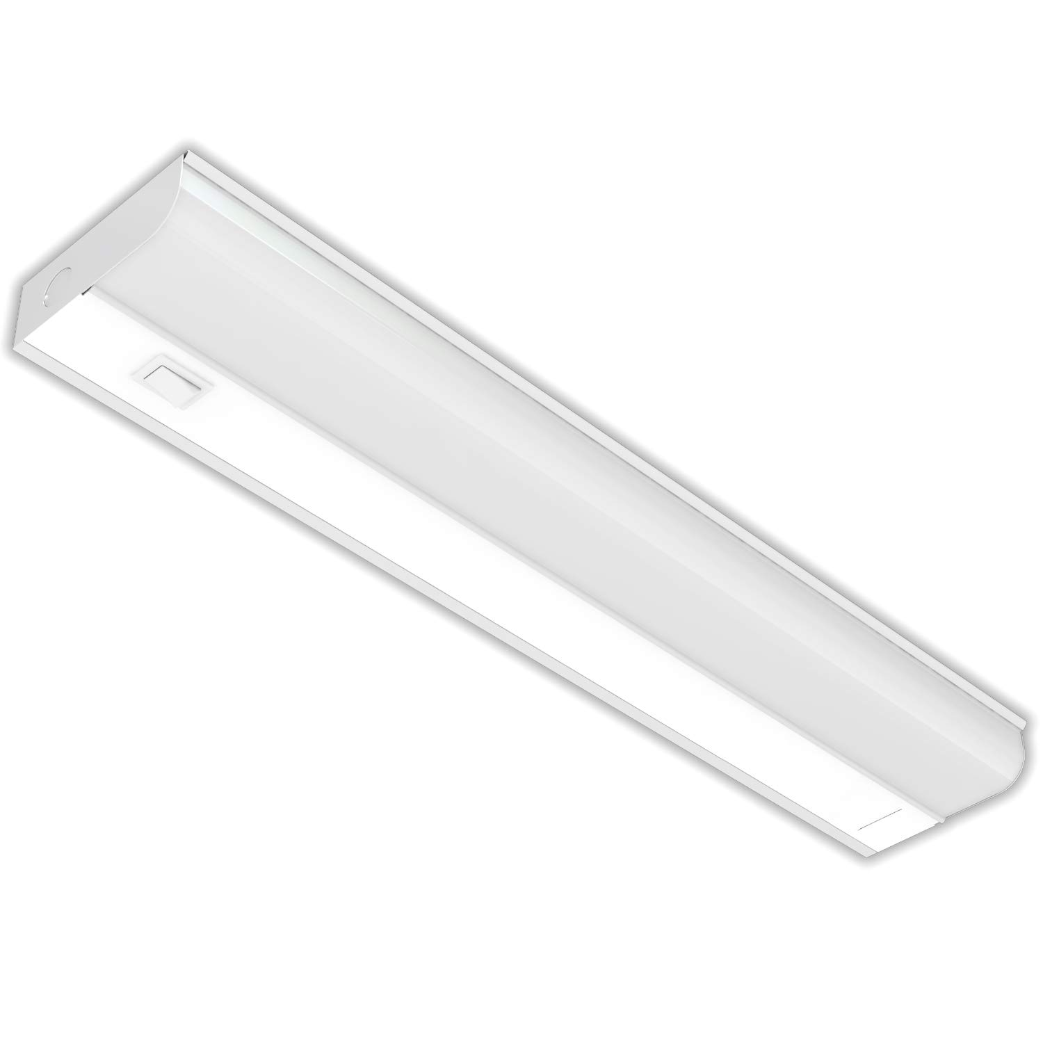 Hardwired LED Under Cabinet Task Lighting - 12 Watt, 18'', Dimmable, CRI>90, 3000K (Warm White), Wide Body, Long Lasting Metal Base with Frost Lens