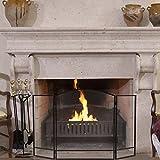 modern fireplace screens Black Folding Steel Fireplace Screen Doors 3 Panel Heavy Duty Furni Decor Fire