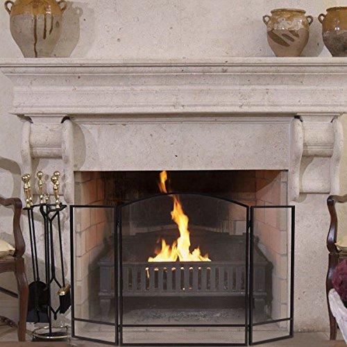 Dragonfly Mesh Candle Holder - Black Folding Steel Fireplace Screen Doors 3 Panel Heavy Duty Furni Decor Fire
