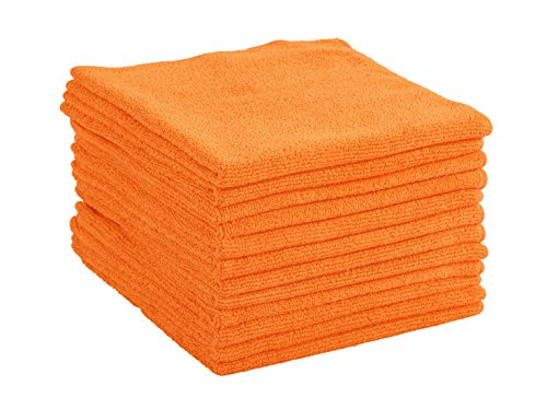 Dri Professional Extra-Thick Microfiber Cleaning Cloth - 16 in x 16 in - 12 Pack (Orange) - Ultra-absorbent, quick drying, chemical-free cleaning by DRI