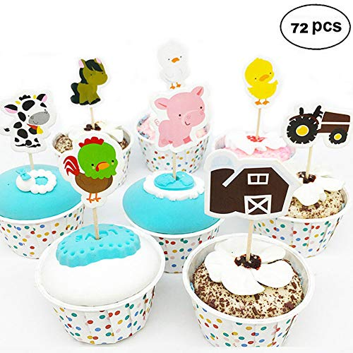 Farm Animal Cupcake Toppers, Cake Decorations, Appetizer Picks for Kids Birthday Party, Themed Party (72 pack) by NADARDA