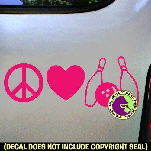 PEACE LOVE BOWLING Vinyl Decal Sticker D