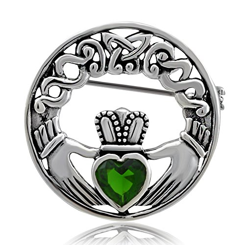 WithLoveSilver Sterling Silver 925 Charm Claddagh Celtic Iris Friendship Brooch Pin (Glass Brooch Emerald)