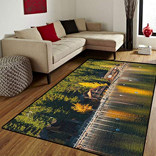 Small Rug,Carnelian Bay Photography Log Cabin in The Woods Holiday Destination Lakeside,Bath Mat 3D Digital Printing Mat,Multicolor,3x5 ft ()