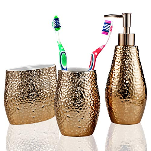 American Atelier Bath Bathroom Accessory Set Ceramic Luxury Includes Soap Lotion Dispenser, Toothbrush Holder, Tooth Tumbler, Rose Gold by American Atelier