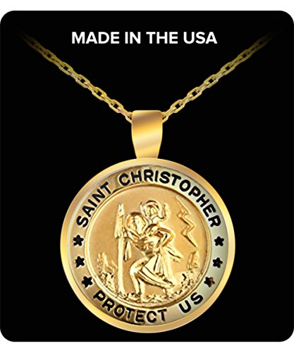 christopher necklace Gold-Filled Small Round Saint Christopher Pendant Necklace with Gold Plated
