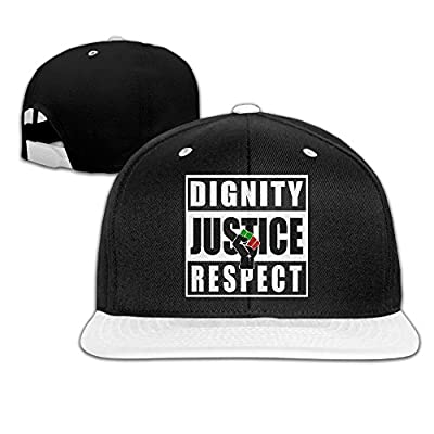 Black Lives Matter BLM Dignity Justice Respect Pan African Baseball Snapback Cap White