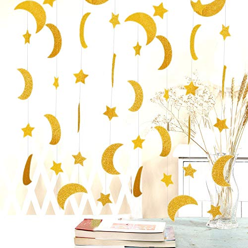 Decorations Moon Stars (50ft Glitter Moon & Stars Garlands, 6Pack Gold Double-Side Crescent and Twinkle Stars Paper Hanging Decorations for Birthday Baby Shower Wedding Party for Nursery Kids Room Home Bedroom)
