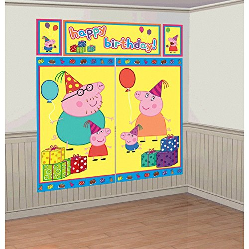Peppa Pig  Birthday Party Scene Setters  Wall Decorating Kit, Plastic, 59