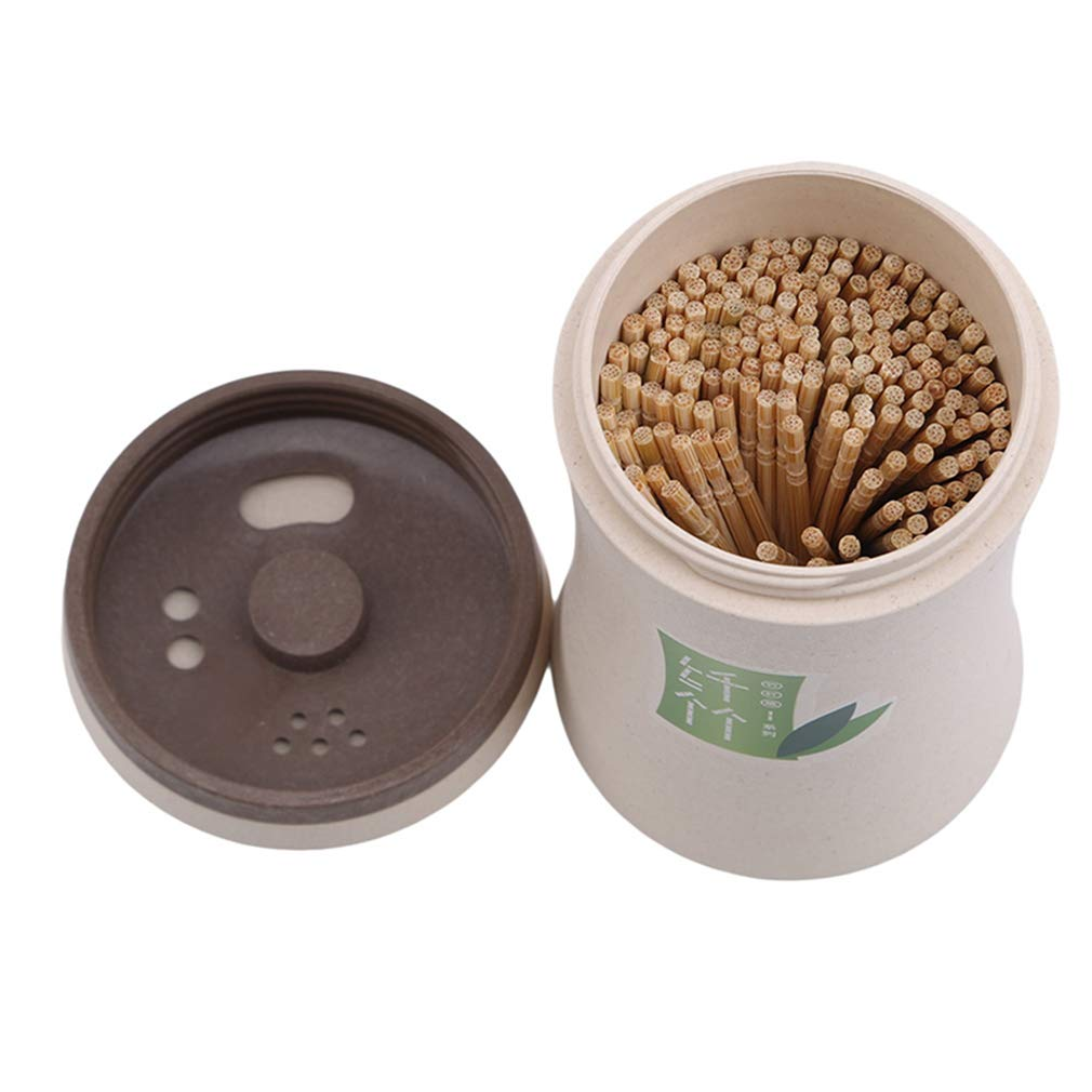 GloryMM Automatic Hand Press Toothpick Holder Container Intelligent Toothpick Holder Storage Box Dispenser Home Decor,Beige,Round Shape