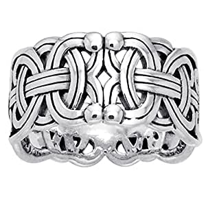 Viking Braided Wedding Band Borre Knot Norse Celtic 10mm Sterling Silver Ring Size 4(Sizes 4,5,6,7,8,9,10,11,12,13,14,15)