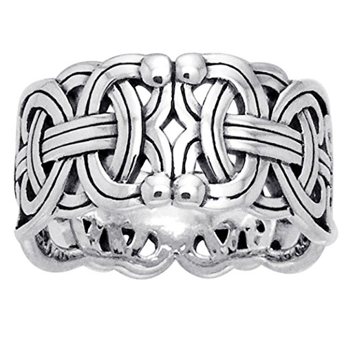 Viking Braided Wedding Band Borre Knot Norse Celtic 10mm Sterling Silver Ring Size 6(Sizes 4,5,6,7,8,9,10,11,12,13,14,15)