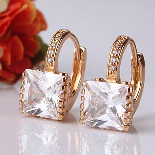 Chokushop Luxury Fashion 18k Gold Filled Earing White Stones Swiss Cubic Zirconia Earings Round Hoop Earring E302e
