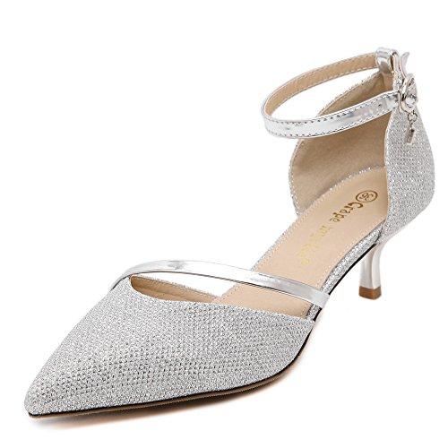 Zapatos plata mujer Fashion Heel de tacón 8wngH1