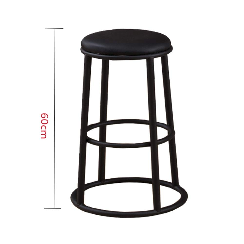 Sand black 60cm A WEIYV-Barstools,bar Chair Solid Wood bar Stool Modern Minimalist Wrought Iron bar Stool Round bar American bar Stool high Stool Personality Family seat American bar Stool