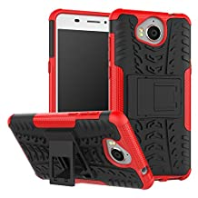 Huawei Y6 2017 Case, B1ST Huawei Y5 2017 Case,Impact Anti-fall,Scratch Resistant, Resistant Shockproof TPU Soft Cover Dual Layer Rugged Heavy Duty Corner Protection Cover Military Tires Leather with Kickstand for Huawei Y5 2017/Y6 2017 (Red)