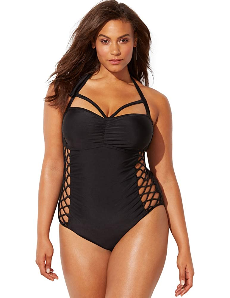 3881d4470 Swimsuits for All Women s Plus Size Ashley Graham Boss Underwire One Piece  Swimsuit at Amazon Women s Clothing store