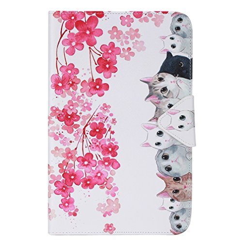 Case Samsung Galaxy Tab E9.6 Case,Galaxy T560 Stand Cover,Samsung SM-561 Sleeve,Stand Folio Cover Slim Folding Case for Galaxy Tab E 9.6 Shell Case,Flower-cats by DETUOSI