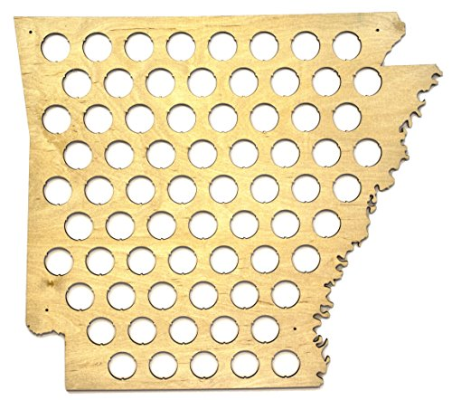 All 50 States Beer Cap Map - Arkansas Beer Cap Map AR - Glossy Wood - Skyline - Wood Sign Arkansas