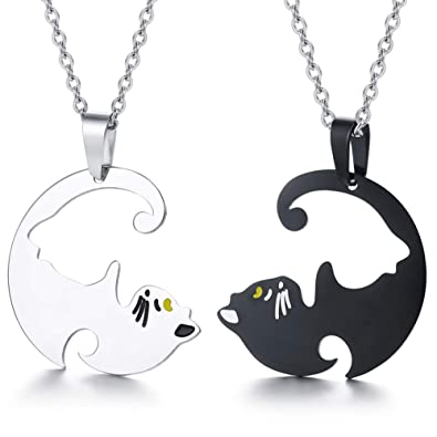 75bab893ff XLXWJJILY His and Her Couple Necklace Set, Stainless Steel Yin Yang Pet Cat Puzzle  Piece