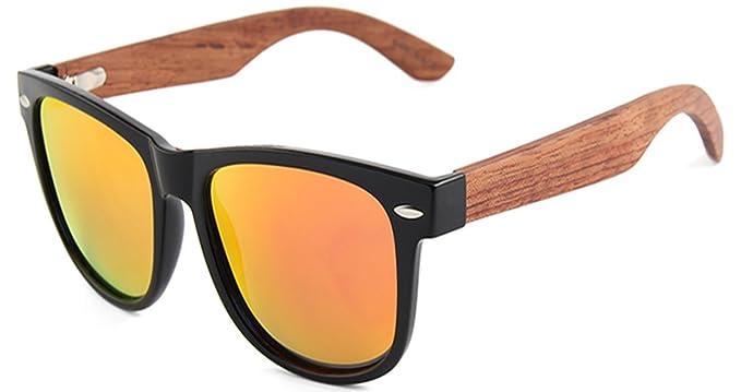 eaefe5152f7 Sweeneys Polarised Sunglasses - Ebony Wood - Black Frame - Red Mirrored Polarised  Lens  Amazon.co.uk  Clothing