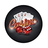 iPrint Polyester Round Tablecloth,Poker Tournament Decorations,Vibrant Dices and Playing Card Casino Theme Luck Risky Game,Multicolor,Dining Room Kitchen Picnic Table Cloth Cover,for Outdoor Indoor