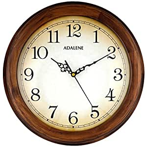 Adalene Wall Clocks Large Decorative For Living Room Decor 14 Inch Wooden Frame